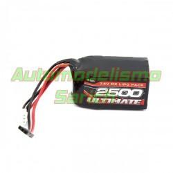 Batería Ultimate LiPo receptor cuadrada 7.4V 2S 2.500mha