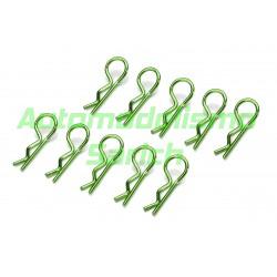 Clips de carrocería verdes (10unid.) Absima 1/10