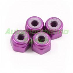 Tuerca autoblocante M3 purpuras (4unid.) Fastrax